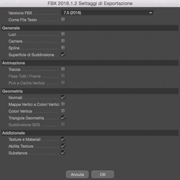 Finestre di setup esportazione tramite fbx del software Cinema 4D