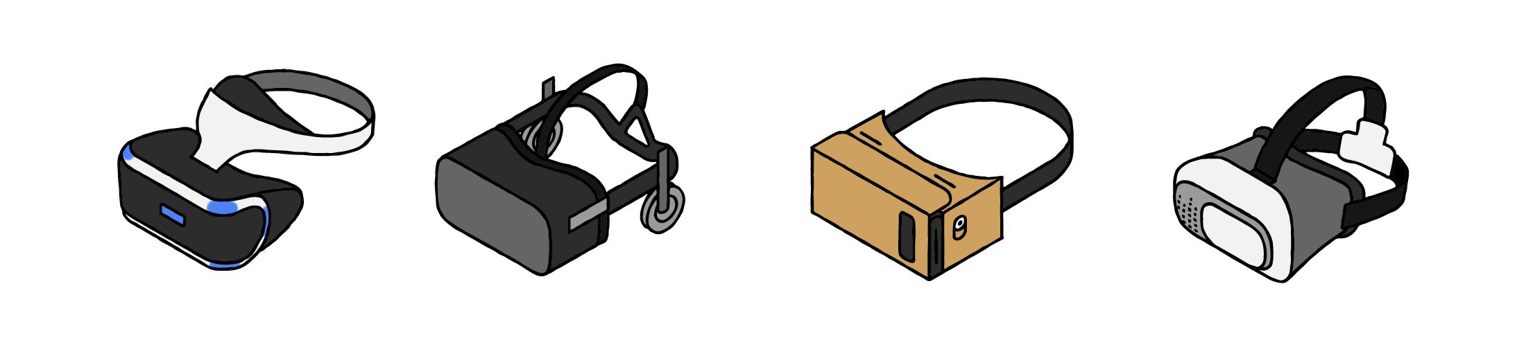 quattro visori realtà virtuale in linea