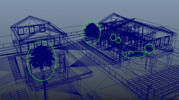 Selezione delle superfici densamente più dense a partire da una visuale in wireframe di un modello 3d su Autodesk Maya